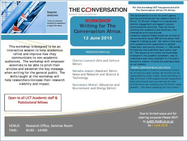 ERP Workshop: Writing for The Conversation Africa | Division